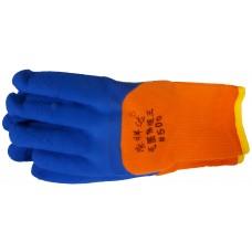 Перчатки Теплые оранжевые (с голубым обливом)