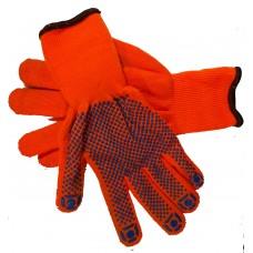 Перчатки теплые оранжевые с синей точкой
